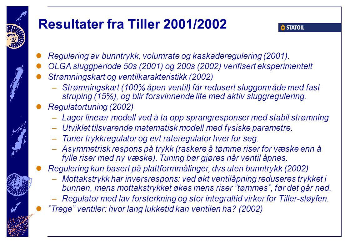 Resultater fra Tiller 2001/2002 Regulering av bunntrykk, volumrate og kaskaderegulering (2001). OLGA sluggperiode 50s (2001) og 200s (2002) verifisert