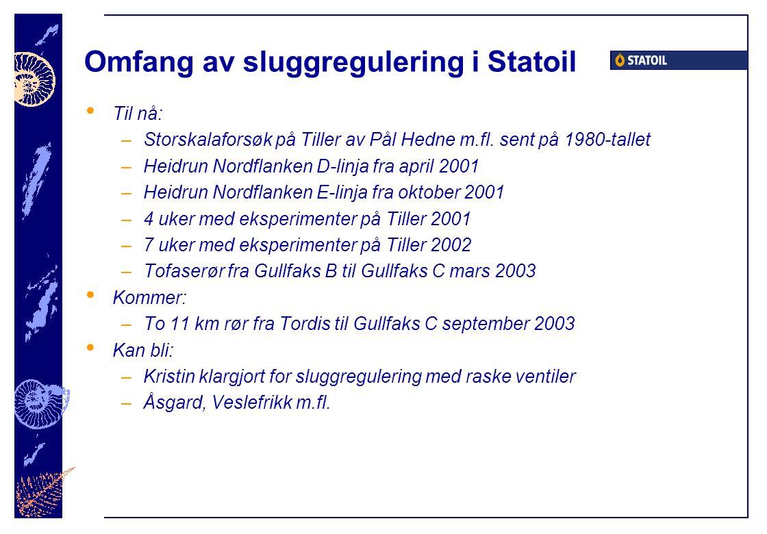 Omfang av sluggregulering i Statoil Til nå: –Storskalaforsøk på Tiller av Pål Hedne m.fl. sent på 1980-tallet –Heidrun Nordflanken D-linja fra april 2