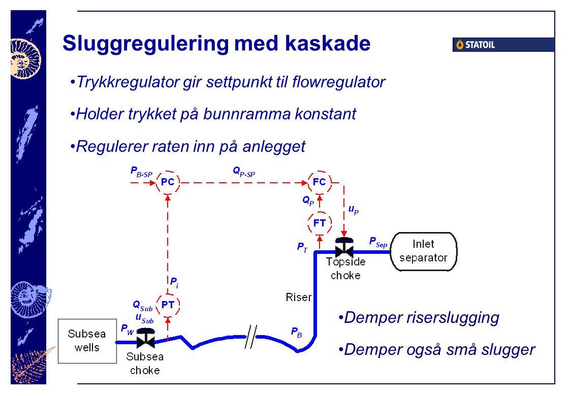 Sluggregulering med kaskade Demper riserslugging Demper også små slugger Trykkregulator gir settpunkt til flowregulator Holder trykket på bunnramma konstant Regulerer raten inn på anlegget