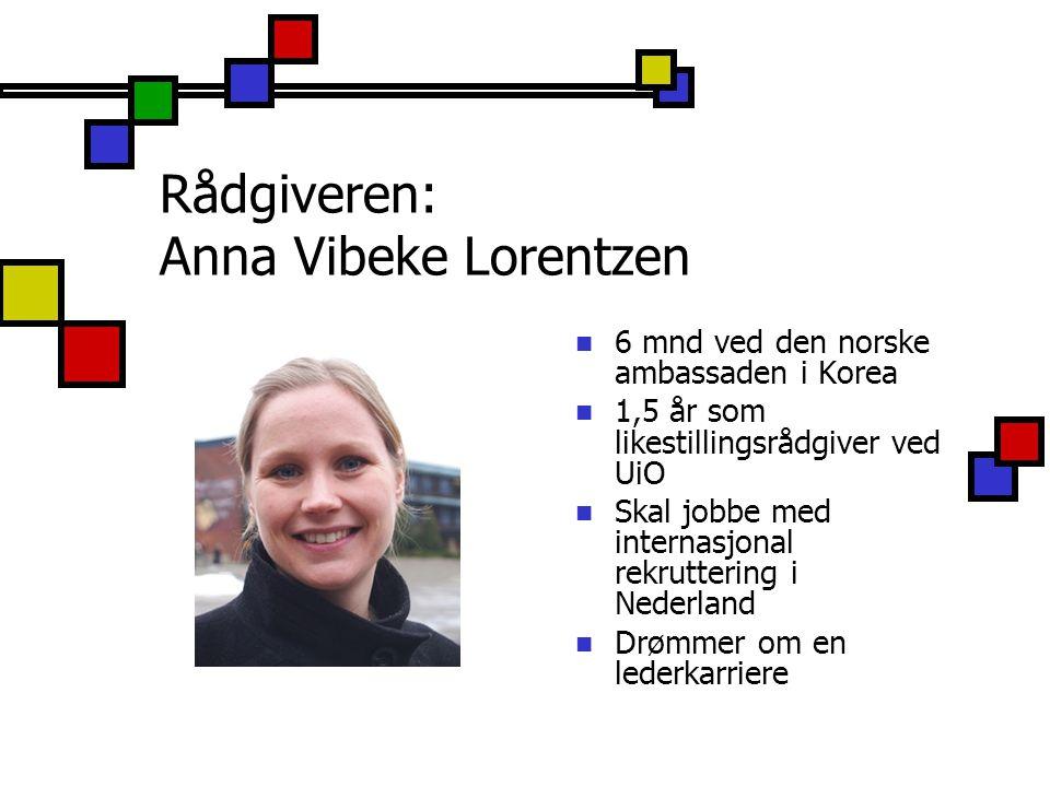 Rådgiveren: Anna Vibeke Lorentzen 6 mnd ved den norske ambassaden i Korea 1,5 år som likestillingsrådgiver ved UiO Skal jobbe med internasjonal rekrut