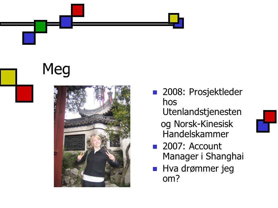 Meg 2008: Prosjektleder hos Utenlandstjenesten og Norsk-Kinesisk Handelskammer 2007: Account Manager i Shanghai Hva drømmer jeg om?