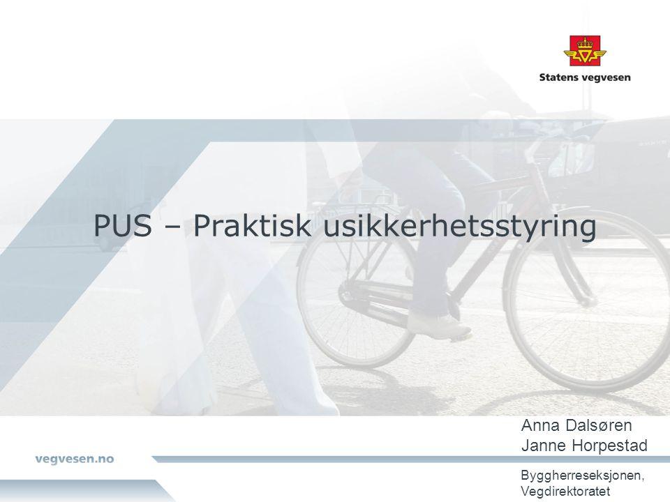 PUS – Praktisk usikkerhetsstyring Anna Dalsøren Janne Horpestad Byggherreseksjonen, Vegdirektoratet