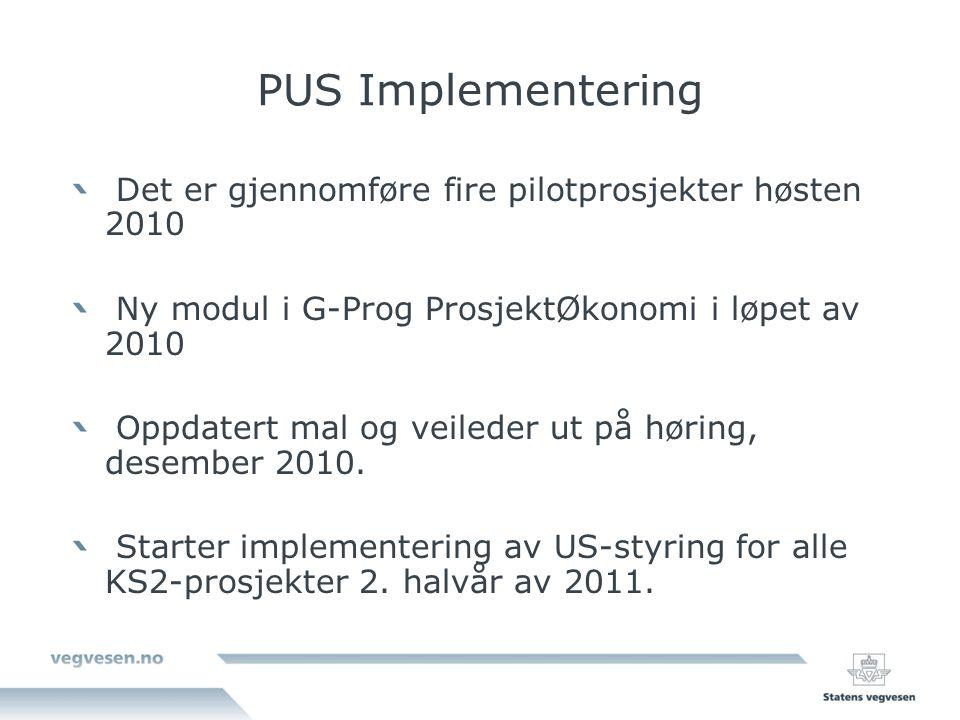 PUS Implementering Det er gjennomføre fire pilotprosjekter høsten 2010 Ny modul i G-Prog ProsjektØkonomi i løpet av 2010 Oppdatert mal og veileder ut