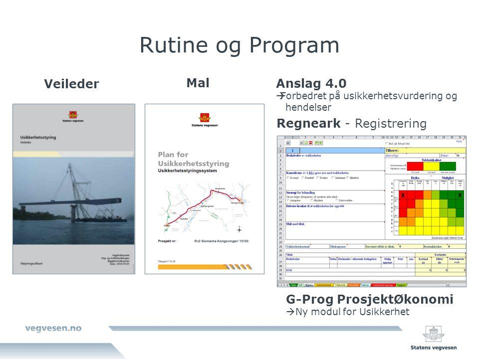 Rutine og Program Veileder Mal Regneark - Registrering G-Prog ProsjektØkonomi  Ny modul for Usikkerhet Anslag 4.0  Forbedret på usikkerhetsvurdering