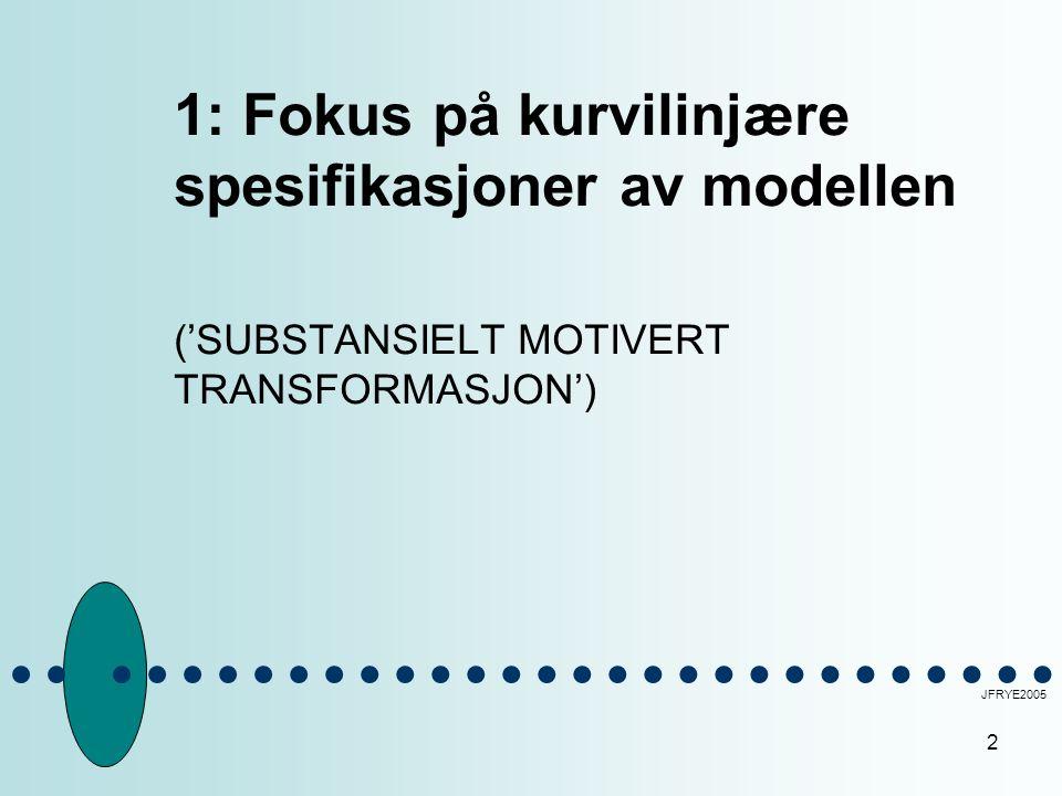 2 1: Fokus på kurvilinjære spesifikasjoner av modellen ('SUBSTANSIELT MOTIVERT TRANSFORMASJON') JFRYE2005