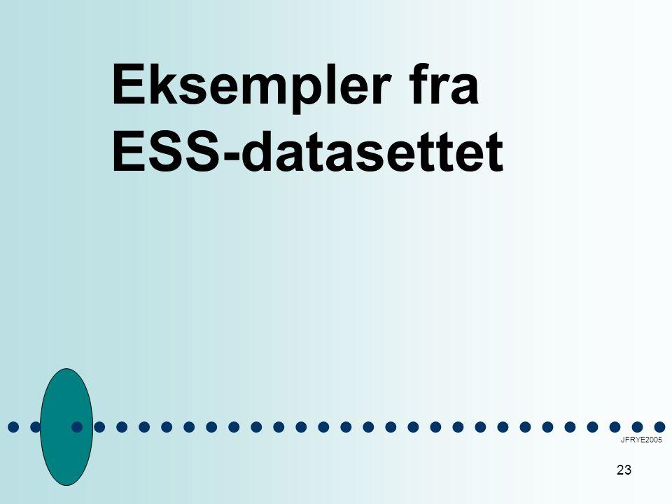 23 Eksempler fra ESS-datasettet JFRYE2005