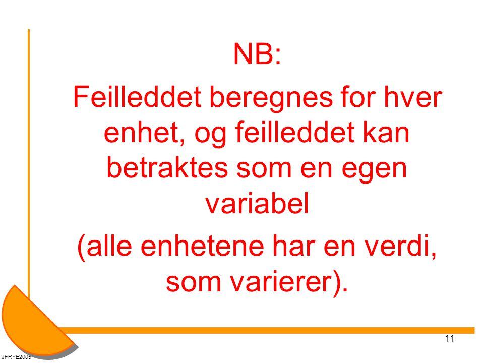 11 NB: Feilleddet beregnes for hver enhet, og feilleddet kan betraktes som en egen variabel (alle enhetene har en verdi, som varierer). JFRYE2005