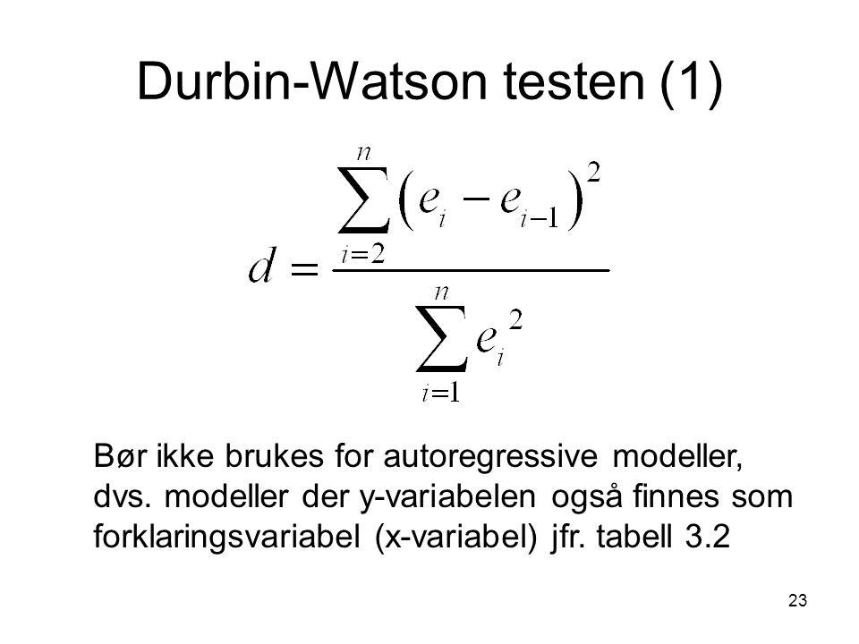 23 Durbin-Watson testen (1) Bør ikke brukes for autoregressive modeller, dvs. modeller der y-variabelen også finnes som forklaringsvariabel (x-variabe