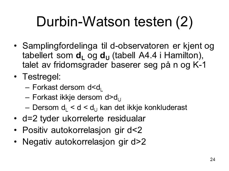 24 Durbin-Watson testen (2) Samplingfordelinga til d-observatoren er kjent og tabellert som d L og d U (tabell A4.4 i Hamilton), talet av fridomsgrade
