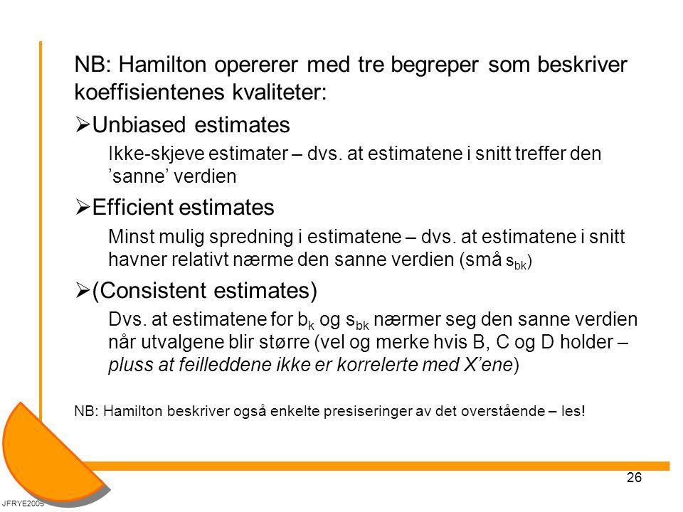 26 NB: Hamilton opererer med tre begreper som beskriver koeffisientenes kvaliteter:  Unbiased estimates Ikke-skjeve estimater – dvs. at estimatene i