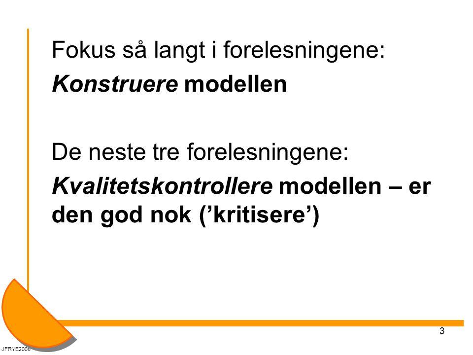 3 Fokus så langt i forelesningene: Konstruere modellen De neste tre forelesningene: Kvalitetskontrollere modellen – er den god nok ('kritisere') JFRYE