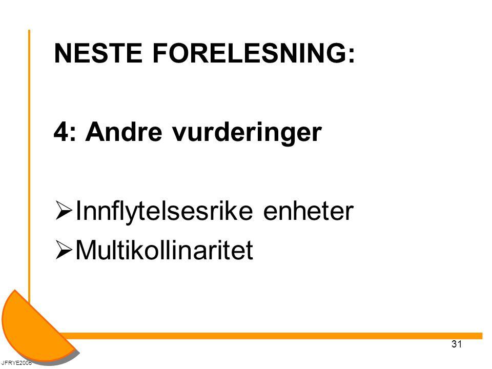 31 NESTE FORELESNING: 4: Andre vurderinger  Innflytelsesrike enheter  Multikollinaritet JFRYE2005
