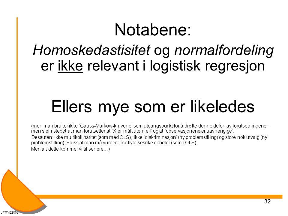 32 Notabene: Homoskedastisitet og normalfordeling er ikke relevant i logistisk regresjon Ellers mye som er likeledes (men man bruker ikke 'Gauss-Marko