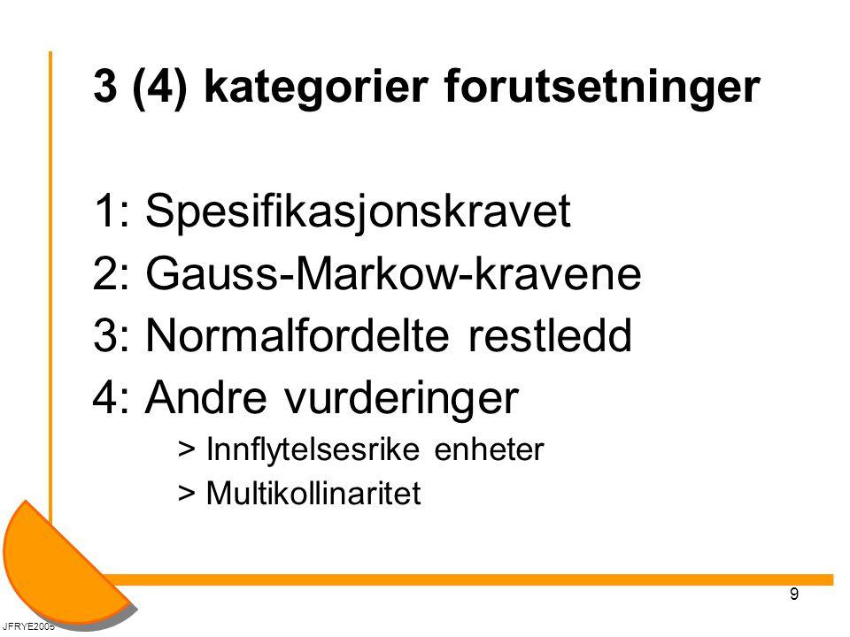 9 3 (4) kategorier forutsetninger 1: Spesifikasjonskravet 2: Gauss-Markow-kravene 3: Normalfordelte restledd 4: Andre vurderinger > Innflytelsesrike e