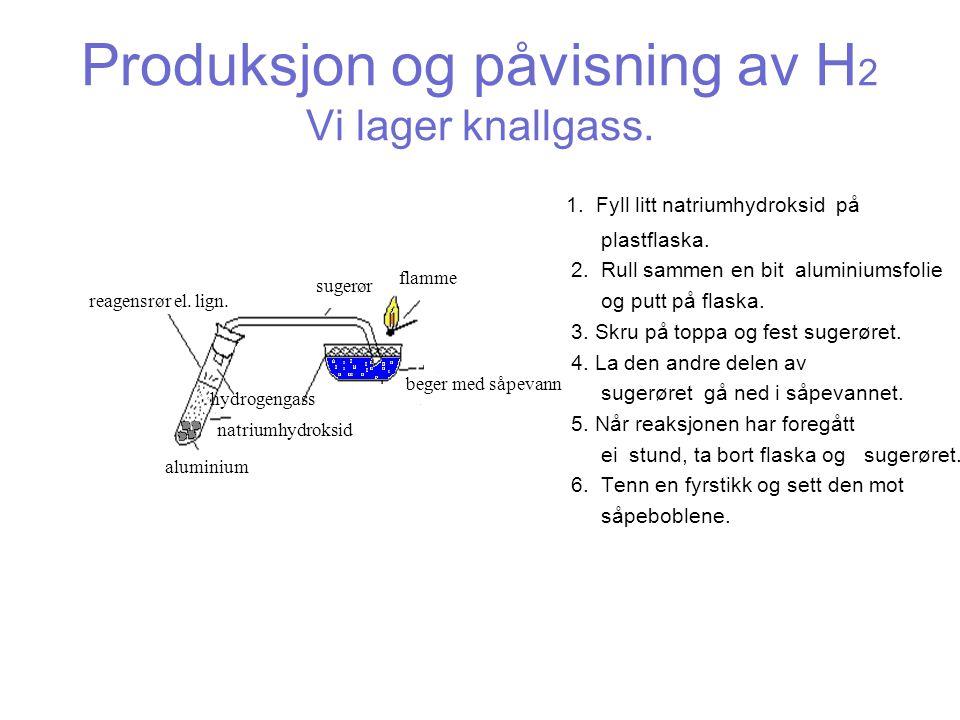 Produksjon og påvisning av H 2 Vi lager knallgass.