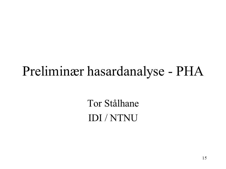 15 Preliminær hasardanalyse - PHA Tor Stålhane IDI / NTNU