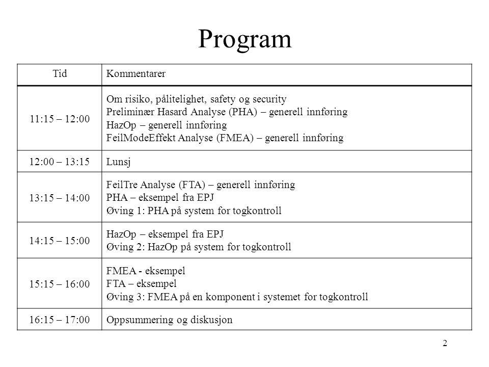 2 Program TidKommentarer 11:15 – 12:00 Om risiko, pålitelighet, safety og security Preliminær Hasard Analyse (PHA) – generell innføring HazOp – genere