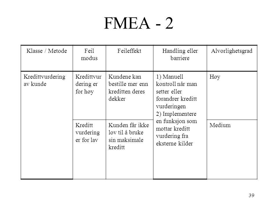 39 FMEA - 2 Klasse / MetodeFeil modus FeileffektHandling eller barriere Alvorlighetsgrad Kredittvurdering av kunde Kredittvur dering er for høy Kunden