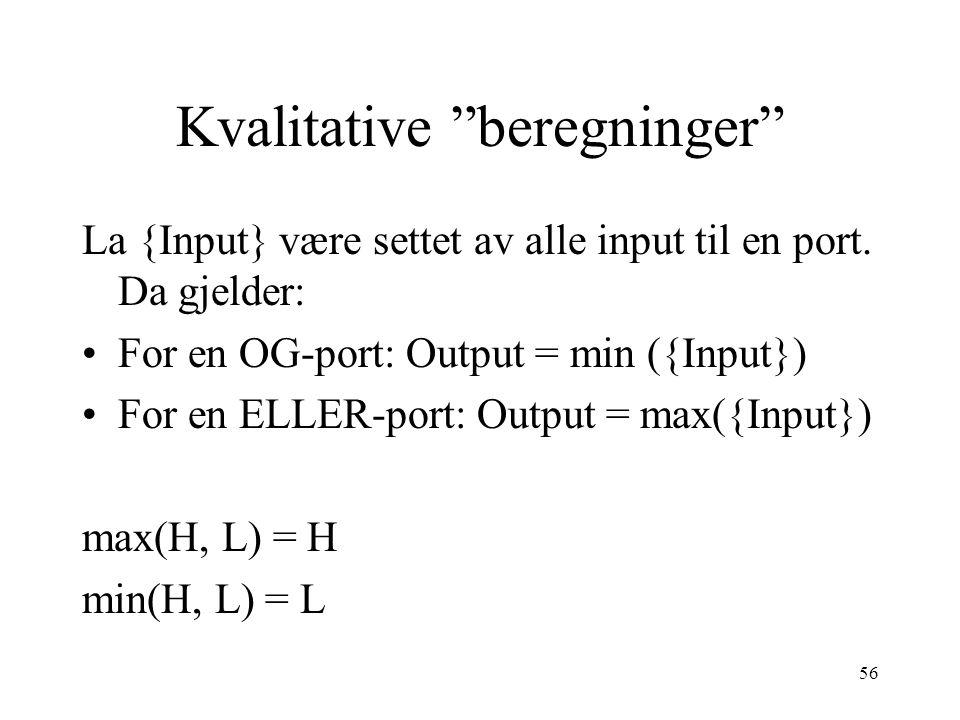 """56 Kvalitative """"beregninger"""" La {Input} være settet av alle input til en port. Da gjelder: For en OG-port: Output = min ({Input}) For en ELLER-port: O"""
