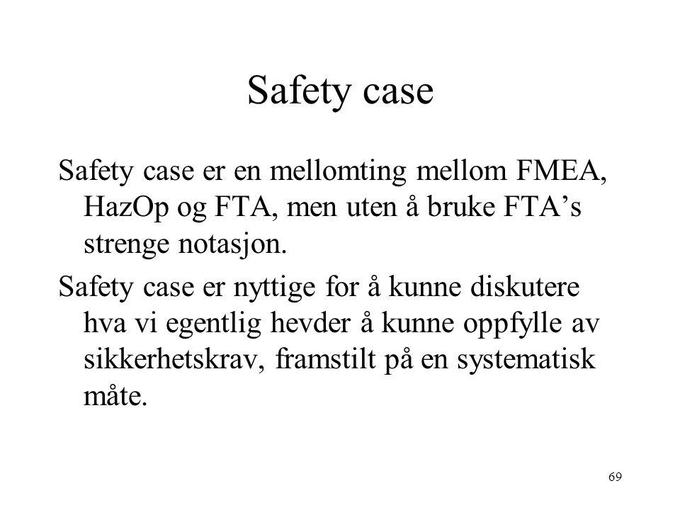 69 Safety case Safety case er en mellomting mellom FMEA, HazOp og FTA, men uten å bruke FTA's strenge notasjon. Safety case er nyttige for å kunne dis