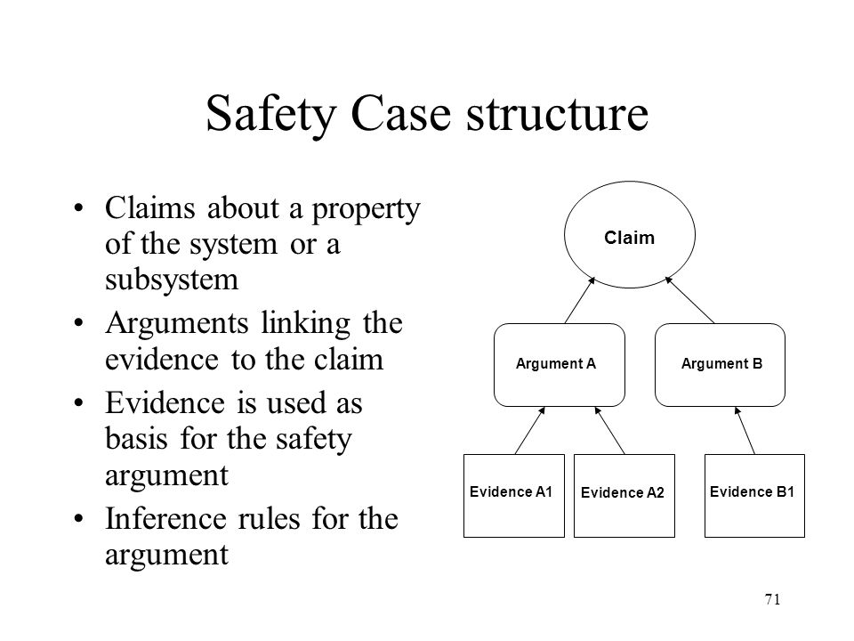 71 Safety Case structure Claim Argument A Evidence A1 Argument B Evidence A2 Evidence B1 Claims about a property of the system or a subsystem Arguments linking the evidence to the claim Evidence is used as basis for the safety argument Inference rules for the argument