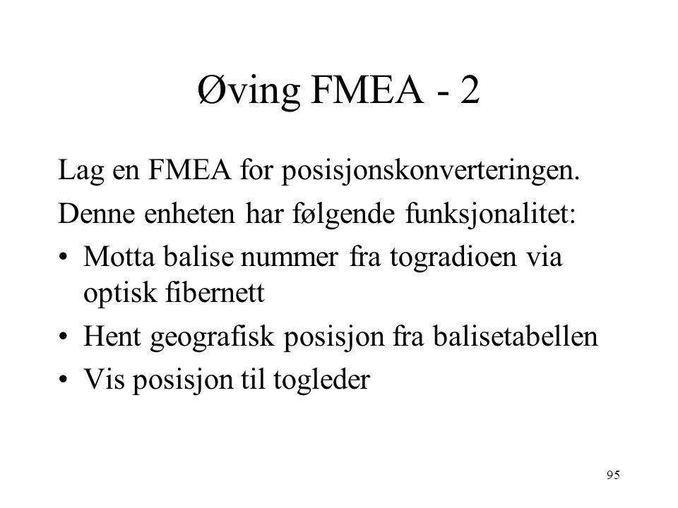 95 Øving FMEA - 2 Lag en FMEA for posisjonskonverteringen. Denne enheten har følgende funksjonalitet: Motta balise nummer fra togradioen via optisk fi