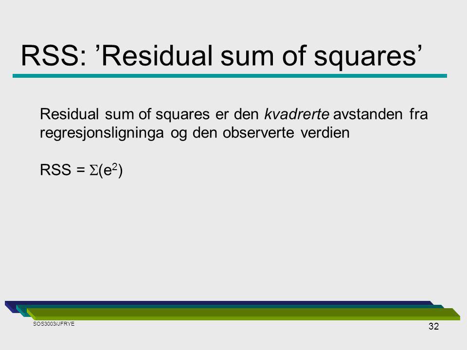 32 RSS: 'Residual sum of squares' Residual sum of squares er den kvadrerte avstanden fra regresjonsligninga og den observerte verdien RSS =  (e 2 ) SOS3003/JFRYE