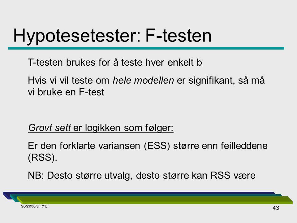43 Hypotesetester: F-testen T-testen brukes for å teste hver enkelt b Hvis vi vil teste om hele modellen er signifikant, så må vi bruke en F-test Grovt sett er logikken som følger: Er den forklarte variansen (ESS) større enn feilleddene (RSS).