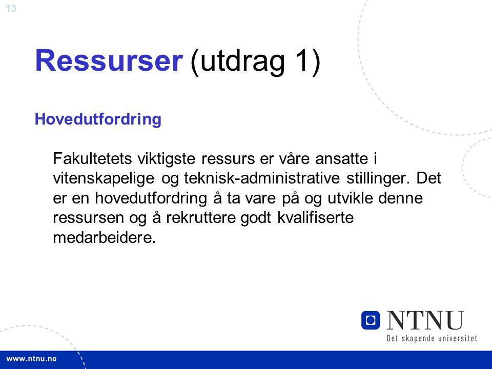 13 Ressurser (utdrag 1) Hovedutfordring Fakultetets viktigste ressurs er våre ansatte i vitenskapelige og teknisk-administrative stillinger. Det er en