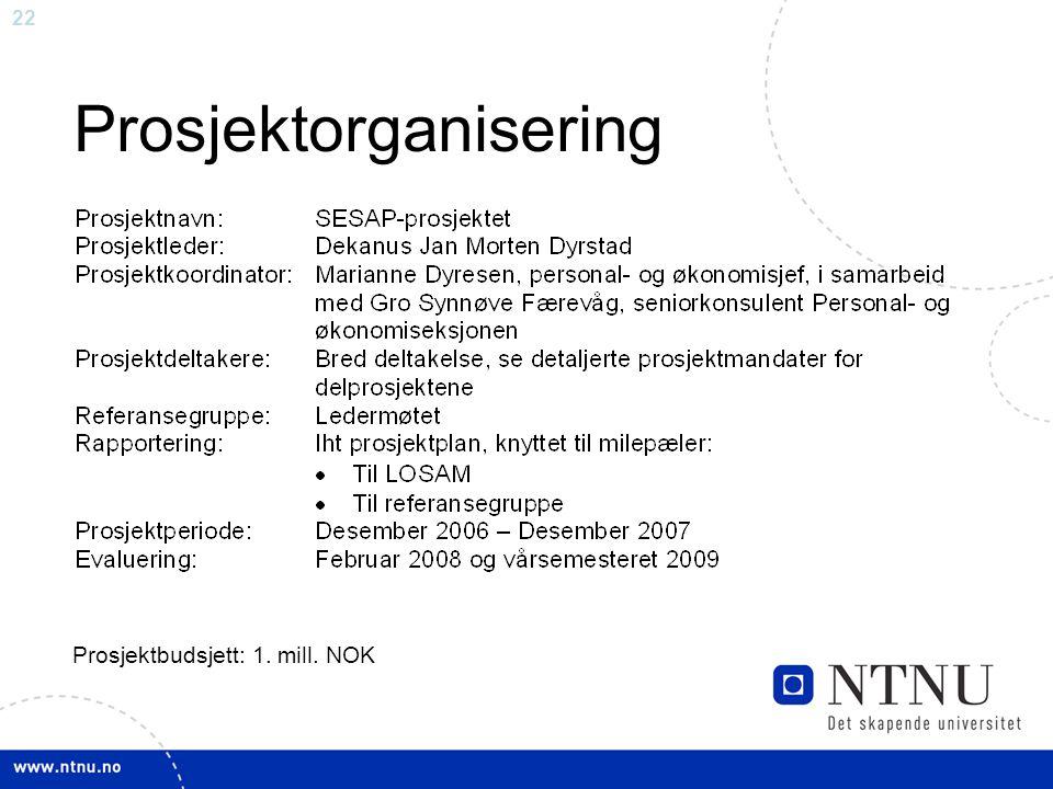 22 Prosjektorganisering Prosjektbudsjett: 1. mill. NOK