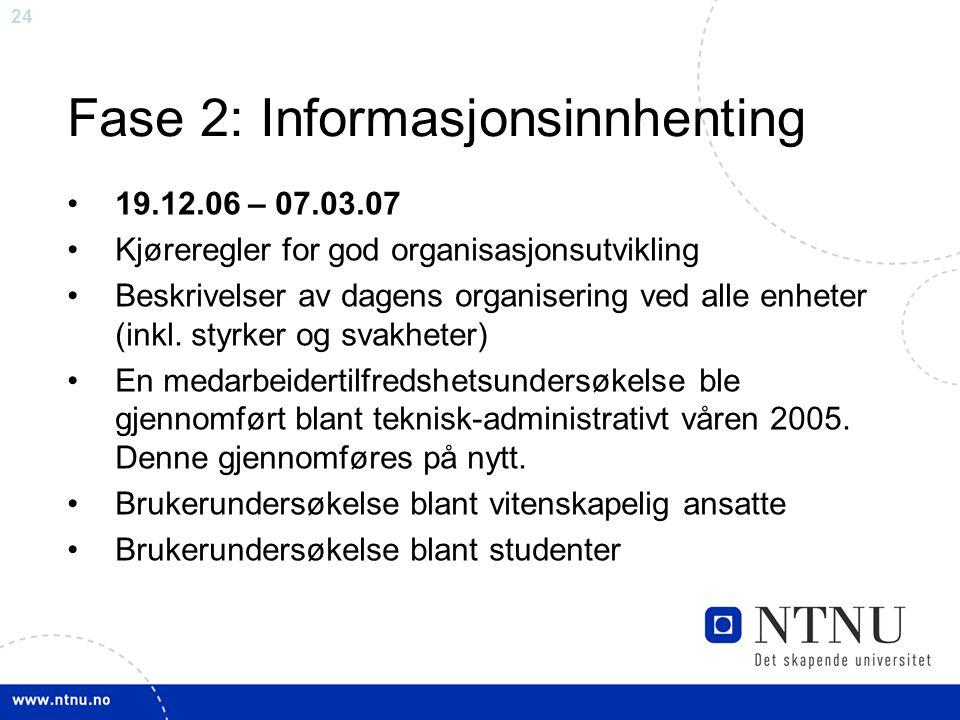 24 Fase 2: Informasjonsinnhenting 19.12.06 – 07.03.07 Kjøreregler for god organisasjonsutvikling Beskrivelser av dagens organisering ved alle enheter