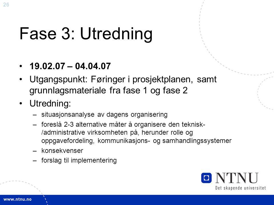 26 Fase 3: Utredning 19.02.07 – 04.04.07 Utgangspunkt: Føringer i prosjektplanen, samt grunnlagsmateriale fra fase 1 og fase 2 Utredning: –situasjonsa