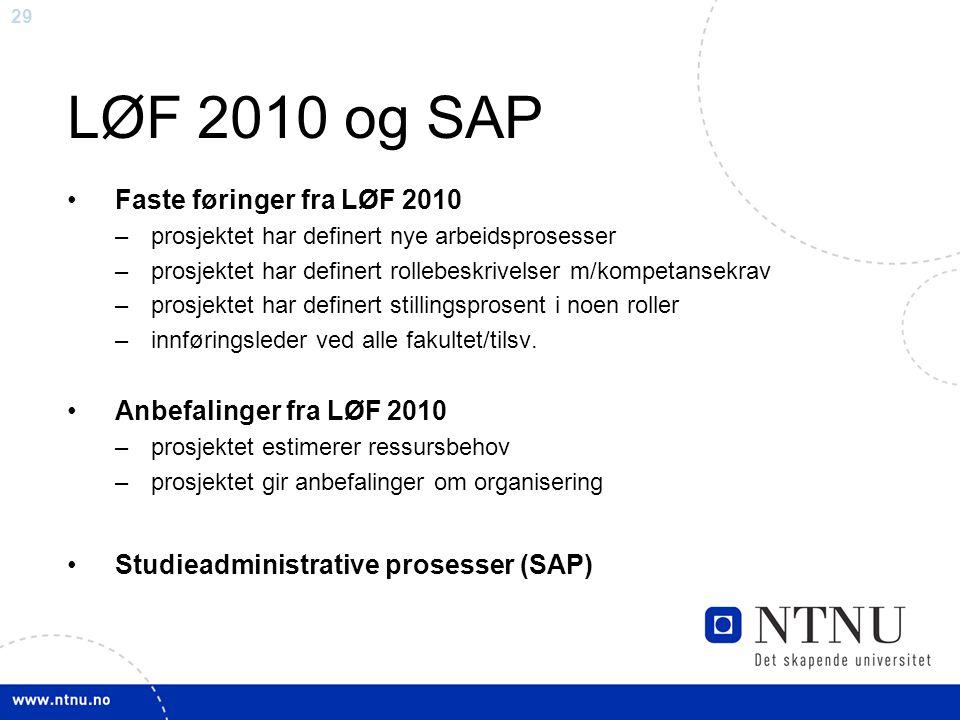 29 LØF 2010 og SAP Faste føringer fra LØF 2010 –prosjektet har definert nye arbeidsprosesser –prosjektet har definert rollebeskrivelser m/kompetansekr
