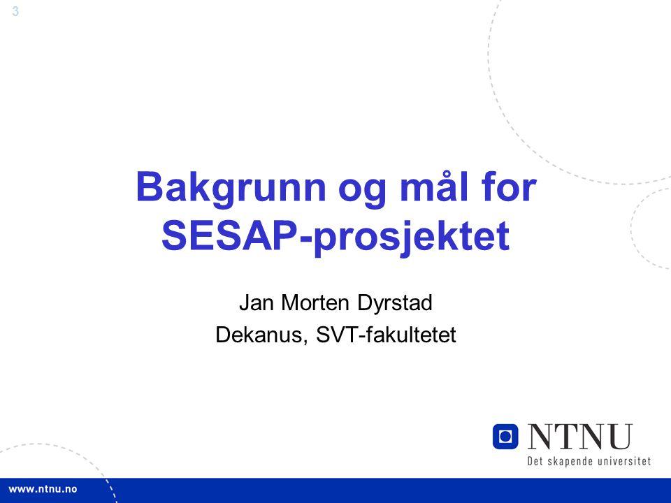 3 Bakgrunn og mål for SESAP-prosjektet Jan Morten Dyrstad Dekanus, SVT-fakultetet