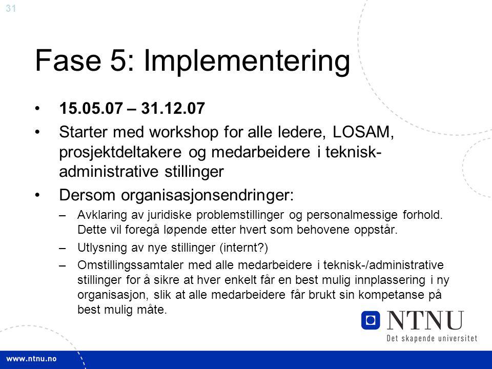 31 Fase 5: Implementering 15.05.07 – 31.12.07 Starter med workshop for alle ledere, LOSAM, prosjektdeltakere og medarbeidere i teknisk- administrative