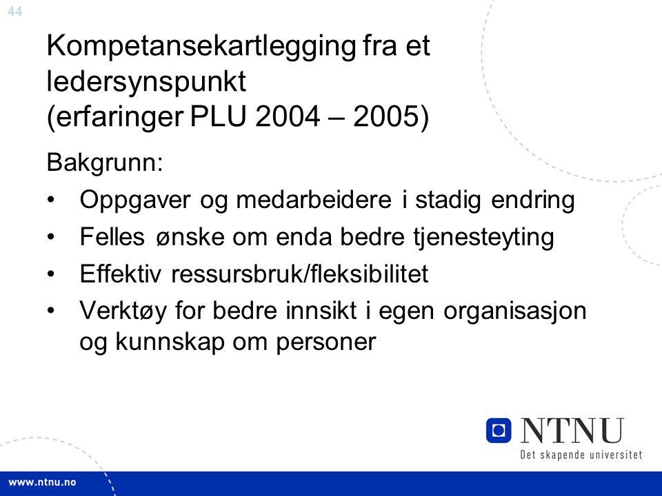 44 Kompetansekartlegging fra et ledersynspunkt (erfaringer PLU 2004 – 2005) Bakgrunn: Oppgaver og medarbeidere i stadig endring Felles ønske om enda b