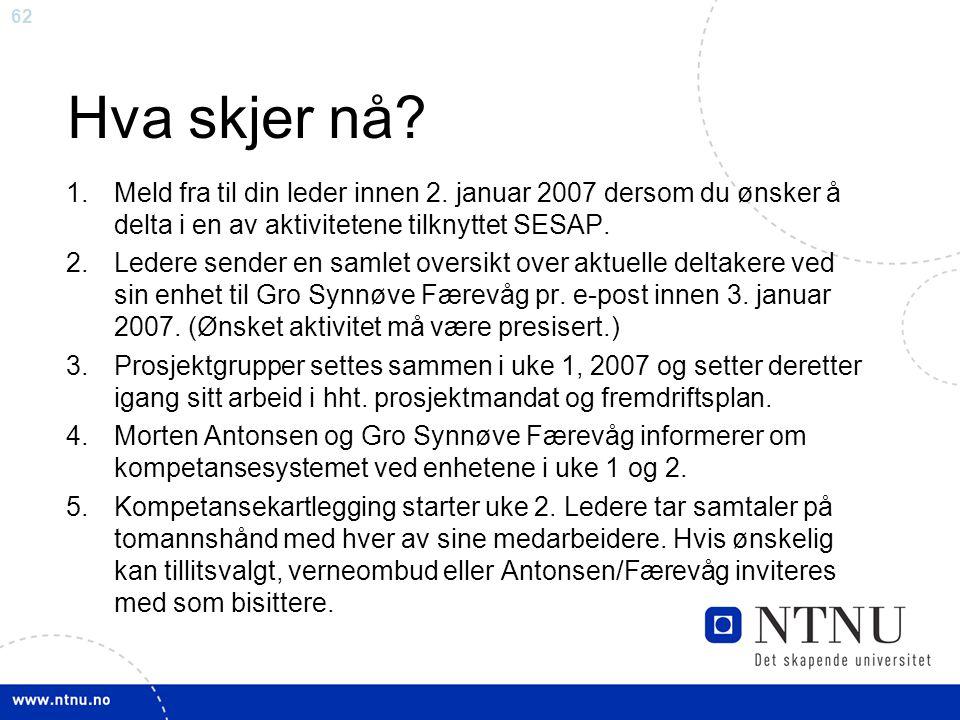 62 Hva skjer nå? 1.Meld fra til din leder innen 2. januar 2007 dersom du ønsker å delta i en av aktivitetene tilknyttet SESAP. 2.Ledere sender en saml