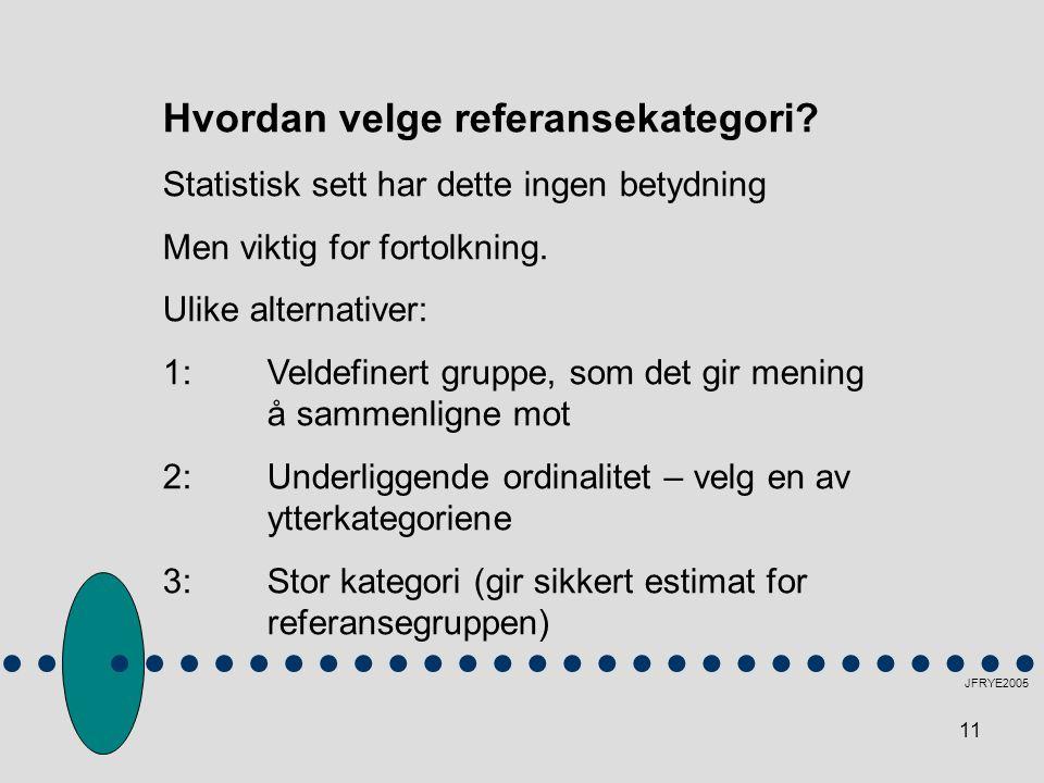 11 JFRYE2005 Hvordan velge referansekategori.