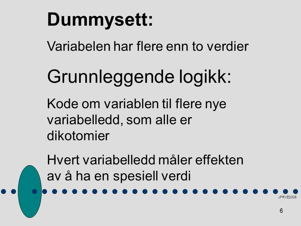 6 JFRYE2005 Dummysett: Variabelen har flere enn to verdier Grunnleggende logikk: Kode om variablen til flere nye variabelledd, som alle er dikotomier