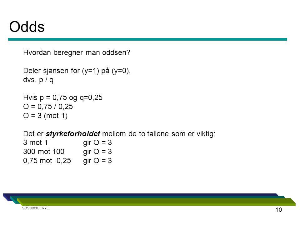 10 Hvordan beregner man oddsen? Deler sjansen for (y=1) på (y=0), dvs. p / q Hvis p = 0,75 og q=0,25 O = 0,75 / 0,25 O = 3 (mot 1) Det er styrkeforhol