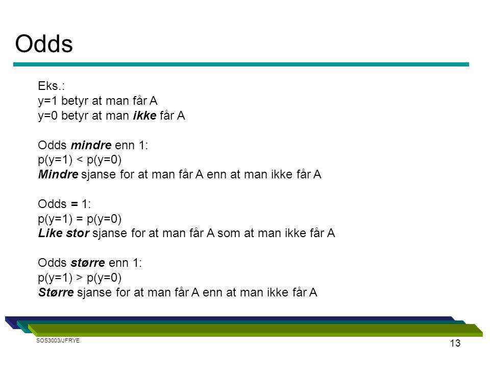 13 Eks.: y=1 betyr at man får A y=0 betyr at man ikke får A Odds mindre enn 1: p(y=1) < p(y=0) Mindre sjanse for at man får A enn at man ikke får A Od