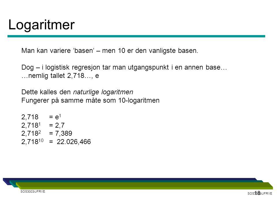 18 Man kan variere 'basen' – men 10 er den vanligste basen. Dog – i logistisk regresjon tar man utgangspunkt i en annen base… …nemlig tallet 2,718…, e