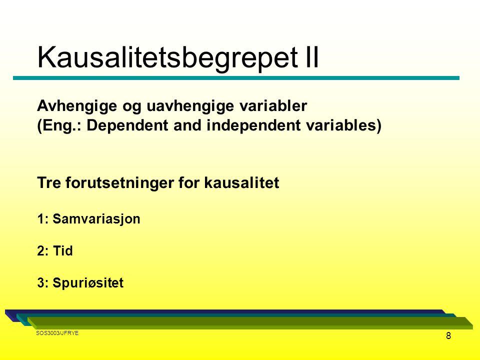 8 Avhengige og uavhengige variabler (Eng.: Dependent and independent variables) Tre forutsetninger for kausalitet 1: Samvariasjon 2: Tid 3: Spuriøsite