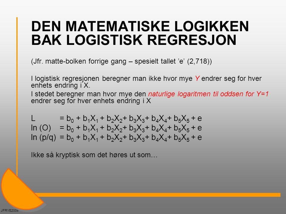 DEN MATEMATISKE LOGIKKEN BAK LOGISTISK REGRESJON (Jfr. matte-bolken forrige gang – spesielt tallet 'e' (2,718)) I logistisk regresjonen beregner man i