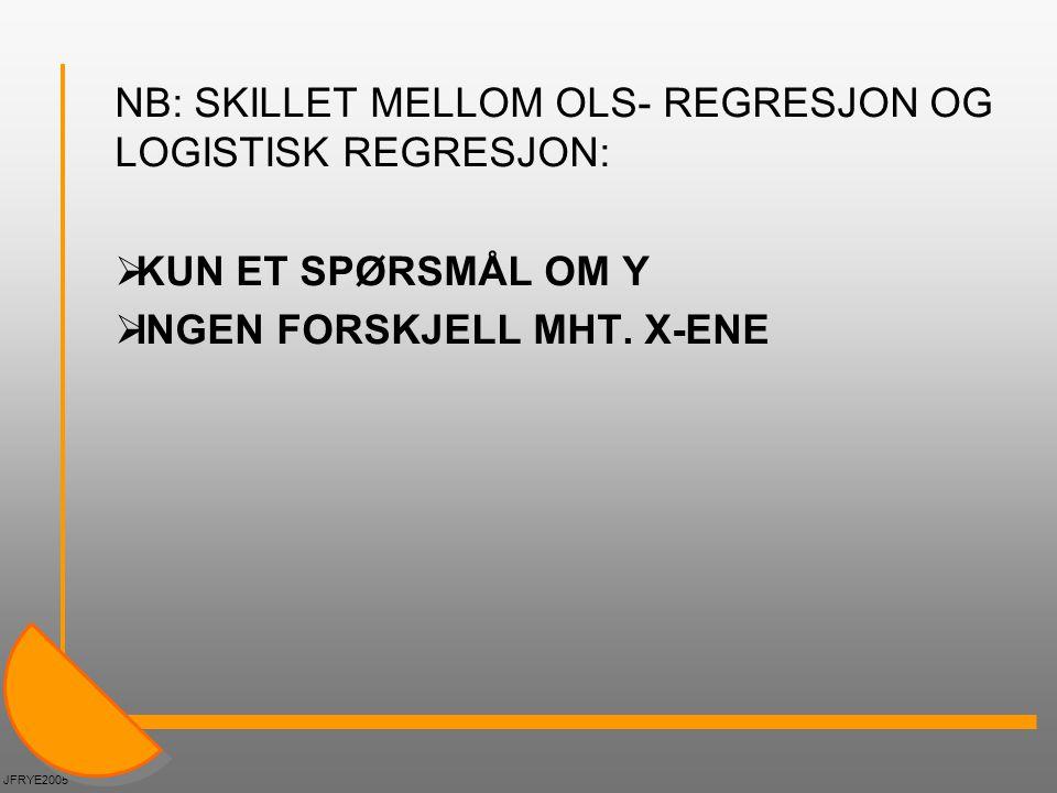 HVORFOR LOGISTISK REGRESJON.Hvis man bruker OLS-regresjon på en dikotom avhengig variabel (0 el.