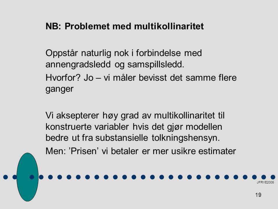 19 NB: Problemet med multikollinaritet Oppstår naturlig nok i forbindelse med annengradsledd og samspillsledd. Hvorfor? Jo – vi måler bevisst det samm