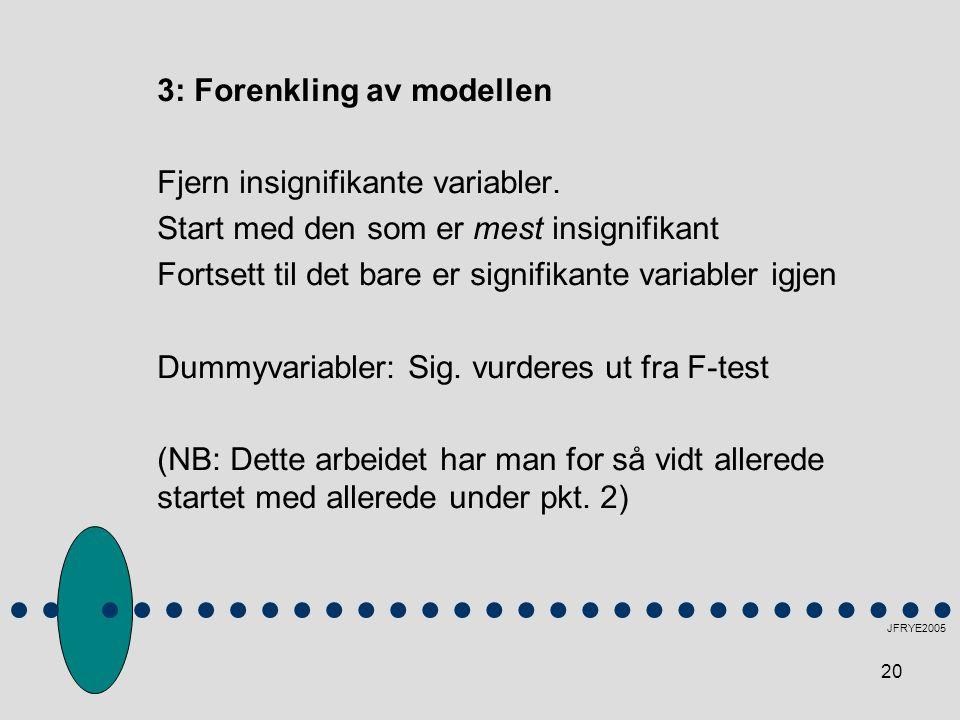 20 3: Forenkling av modellen Fjern insignifikante variabler. Start med den som er mest insignifikant Fortsett til det bare er signifikante variabler i