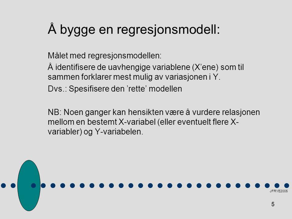 5 Å bygge en regresjonsmodell: Målet med regresjonsmodellen: Å identifisere de uavhengige variablene (X'ene) som til sammen forklarer mest mulig av va