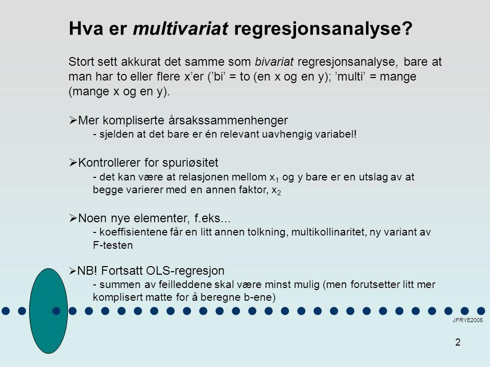 3 JFRYE2005 ET EKSEMPEL FRA ESS (Norge): 1 UAVHENGIG VARIABEL (BIVARIAT REGRESJON) Y: Religiøsitet X 1 :Venstre/høyre-aksen