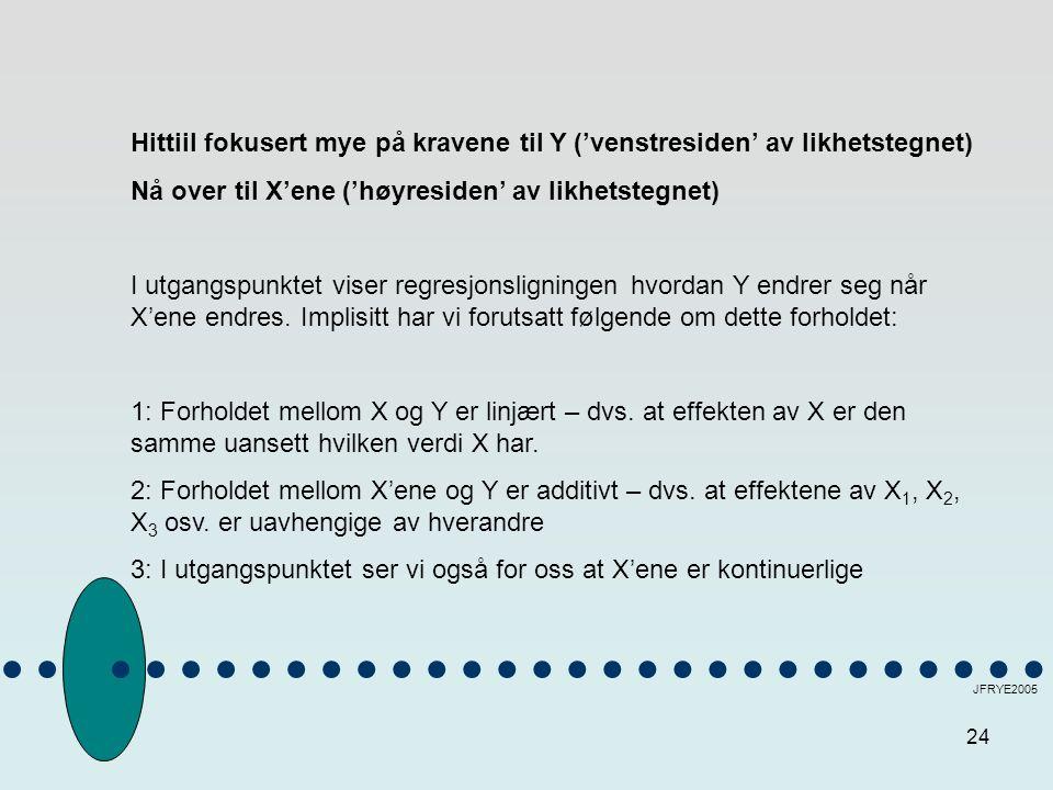 24 JFRYE2005 Hittiil fokusert mye på kravene til Y ('venstresiden' av likhetstegnet) Nå over til X'ene ('høyresiden' av likhetstegnet) I utgangspunkte